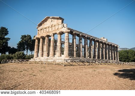 View Of The Temple Of Hera I In Paestum, Italy.