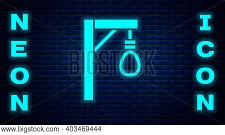 Glowing Neon Gallows Rope Loop Hanging Icon Isolated On Brick Wall Background. Rope Tied Into Noose.