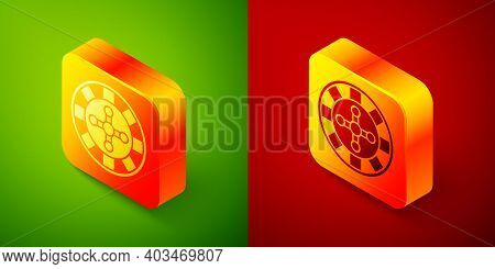 Isometric Casino Roulette Wheel Icon Isolated On Green And Red Background. Square Button. Vector