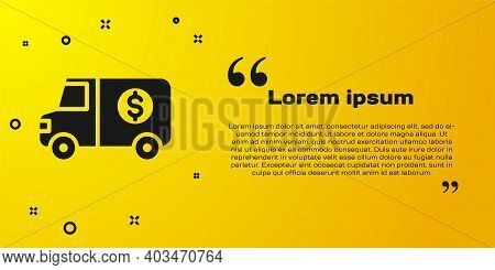 Black Armored Truck Icon Isolated On Yellow Background. Vector