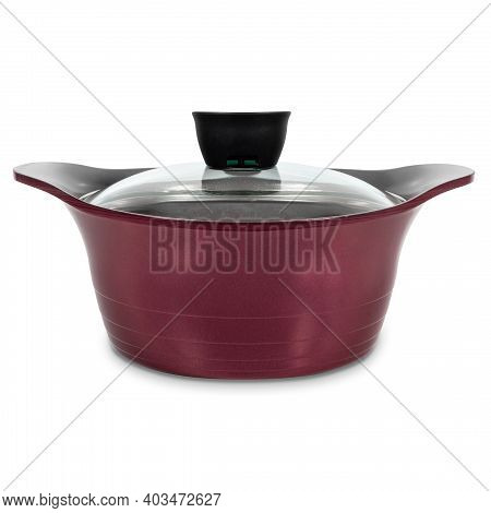 Pot For Cooking Or Soup, Covered With A Transparent Glass Lid