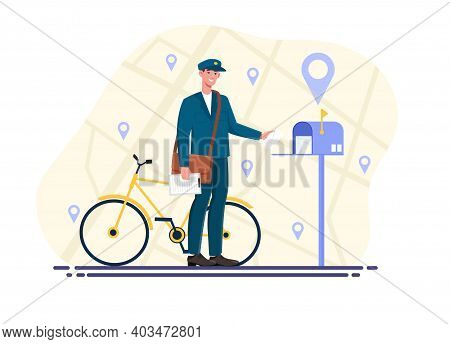 Male Postman Is Delivering Mail. Mailman In Blue Uniform And Bicycle Delivering Letters In Mailbox.