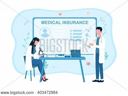 Male And Female Doctors In White Robes Making Tests For Health Insurance. Man And Woman Examine File