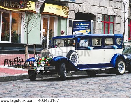 Kiev, Ukraine - April 9, 2011: English Limousine Jaguar In The City