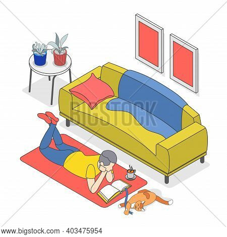 Hygge Lifestyle Colored Isometric Background With Man And Cat Lie On Carpet And He Reads A Book With