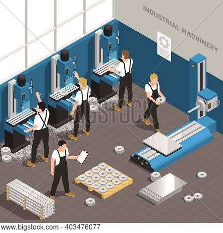 Industrial Metalworking Facility Manufacturing Process Isometric Composition With Workers Using Mill