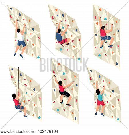 Isometric Climbing Set With Isolated Icons Characters Of Training People On Ropes Climbing Up Traini