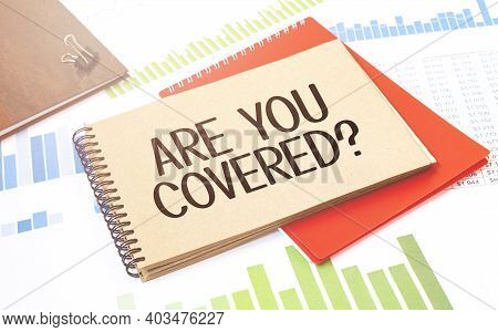 Notepad With Text Are You Covered Diagram, Red Notepad And White Background