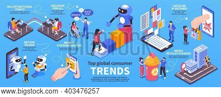 Isometric Global Consumer Trends Infographic Set Multifunctional Homes Reuse Revolutionaries Beyond