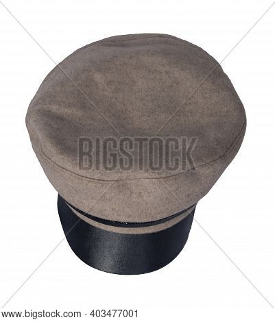Fashion Beige Hat With Black Visor Isolated On White Background.cap Female. Colored Hat .