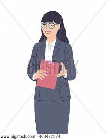 Confident Speaking Woman In Gray Suit Isolated On White. Spokesperson At Lecture, Workshop, Seminar.