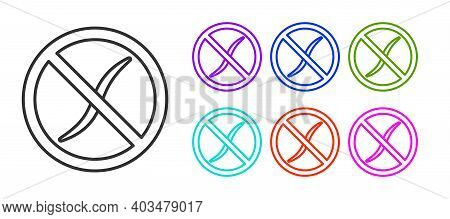 Black Line Anti Worms Parasite Icon Isolated On White Background. Set Icons Colorful. Vector