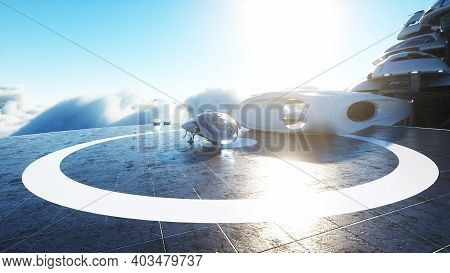Futuristic Ship Lands On Futuristic Base In The Clouds. 3d Rendering.