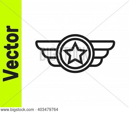Black Line Star American Military Icon Isolated On White Background. Military Badges. Army Patches.
