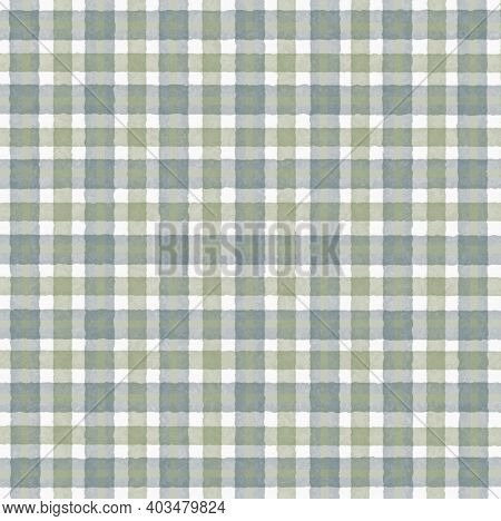 Olive Green White Gray Vintage Checkered Background With Blur, Gradient And Grunge Texture. Classic