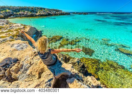 Happy Woman Enjoying Turquoise Tropical Sea Of Little Salmon Bay, Popular Bay On Rottnest Island, We