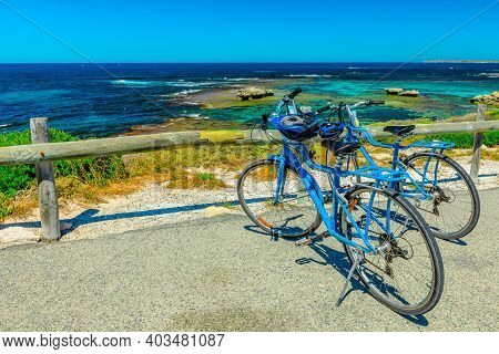 Tourist Bicycles Parked At Parker Point, A Lookout Overlooking Tropical And Pristine White Beaches O