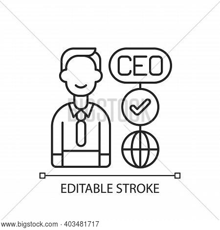 Ceo Linear Icon. Chief Executive Officer. Highest-ranking Person In Company. Guiding Employees. Thin