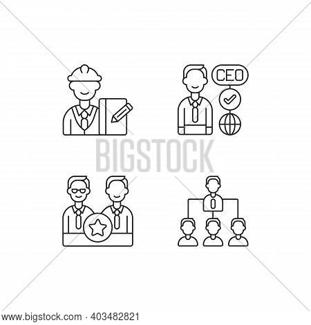 Organization Hierarchy Linear Icons Set. Supervisor. Ceo. Directors Board. Hierarchy In Business. Cu