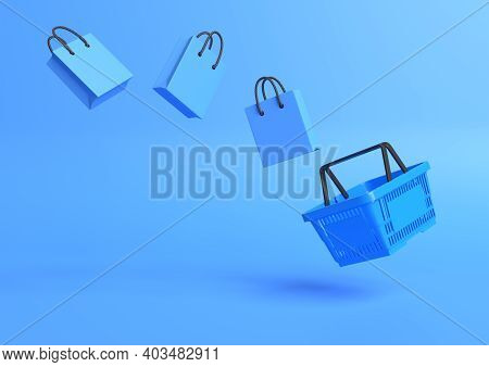 Flying Shopping Basket With Shopping Bags On A Blue Background. Minimalist Concept. 3d Render Illust