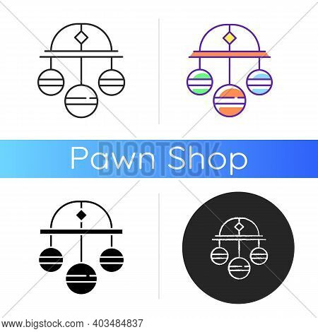 Pawn Symbol Icon. Three Spheres Suspended From Bar. Monetary Success Symbol. Pawnbrokers Symbolic Me
