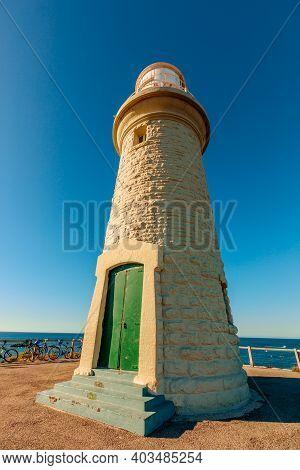 Bathurst Lighthouse Of Pinky Beach In North Coast Of Rottnest Island, Near Perth, Western Australia.