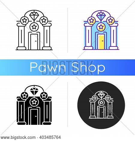 Upscale Pawnshops Icon. Loan Offices. High-end Collateral Lender. Prestige Pawnbrokers. Luxury Goods