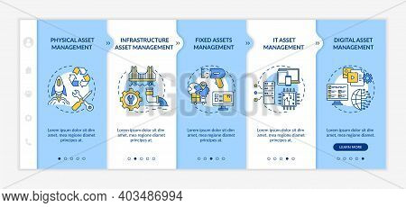 Investment Management Types Onboarding Vector Template. Fixed Assets And Digital Asset Managing. Res