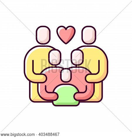 Family Reunion Rgb Color Icon. Relatives Social Gathering. Parents Celebrate Together With Children.