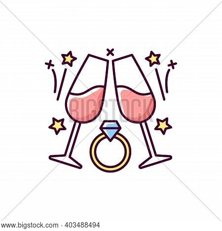 Engagement Party Rgb Color Icon. Wedding Date. Marriage Celebration. Romantic Relationship. Annivers