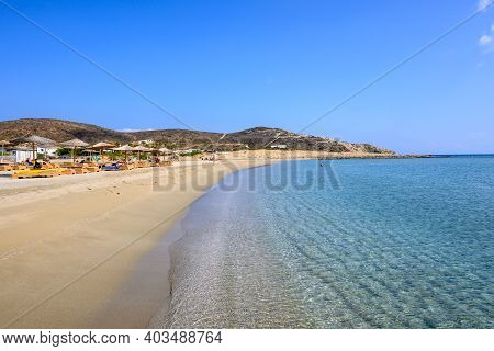 Ios, Greece - September 21, 2020: Manganari Beach On Ios Island, One Of The Most Picturesque Beaches