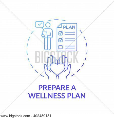 Wellness Plan Preparation Concept Icon. Workplace Wellness Success Tip Idea Thin Line Illustration.