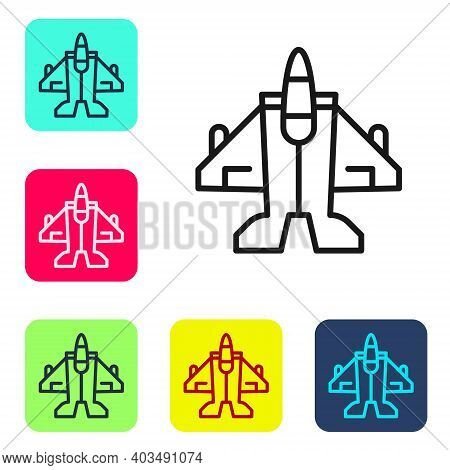 Black Line Jet Fighter Icon Isolated On White Background. Military Aircraft. Set Icons In Color Squa