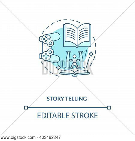 Story Telling Concept Icon. Game Design Industry Benefits. Activity Of Sharing Exciting Stories. Cre