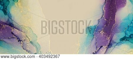 Abstract blue, violet and gold glitter color horizontal long background. Marble texture. Alcohol ink colors.