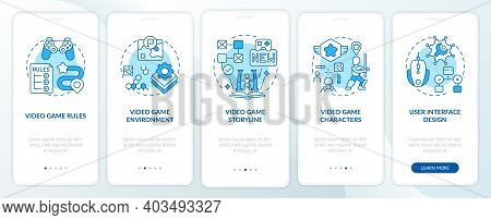 Video Game Design Components Onboarding Mobile App Page Screen With Concepts. Special Game Rules Wal