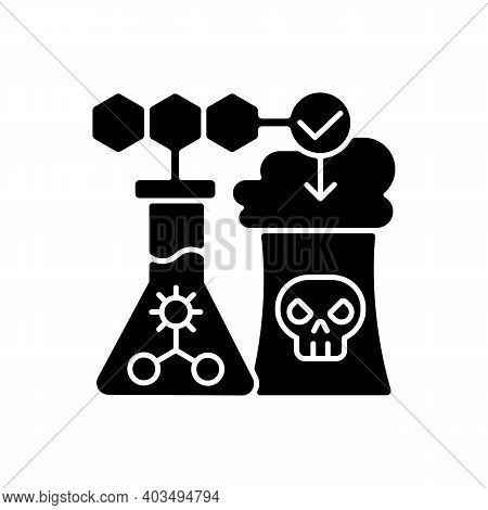 Environmental Biotechnology Black Glyph Icon. Chemical Production. Biotechnology Research. Genetic E