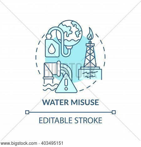 Water Misuse Concept Icon. Climate Improve Idea Thin Line Illustration. Reduce Water Wastage. Enviro