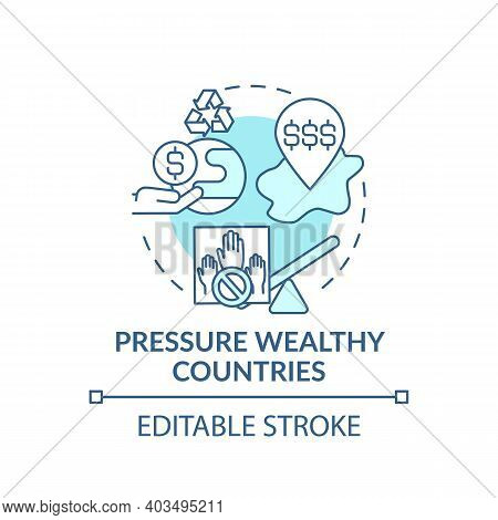 Pressure Wealthy Country Concept Icon. Financial Pressure Idea Thin Line Illustration. Climate Chang