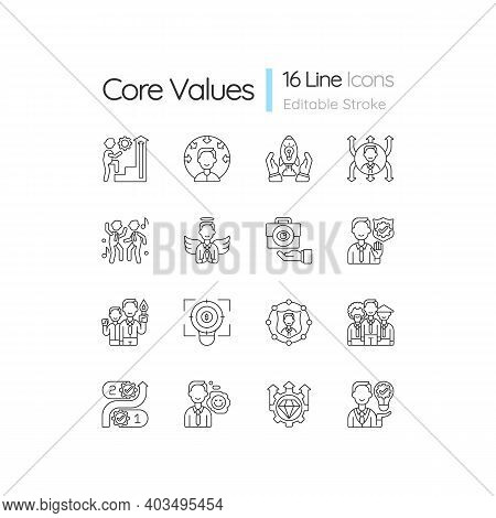 Core Values Linear Icons Set. Persistence And Determination In Work. Corporate Mission. Company Ethi