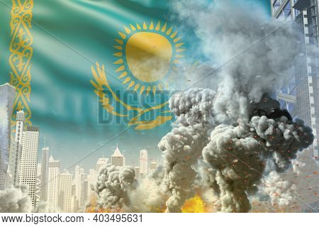 Huge Smoke Pillar With Fire In Abstract City - Concept Of Industrial Disaster Or Terrorist Act On Ka