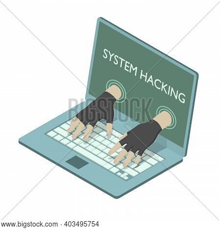Hands From Screen Are Hacking A Laptop In Isometric.