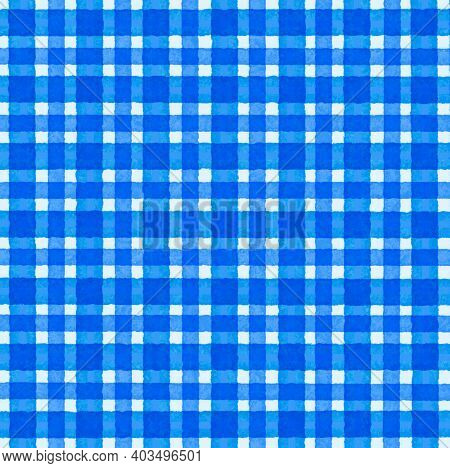 Bright Blue White Vintage Checkered Background With Blur, Gradient And Grunge Texture. Classic Check