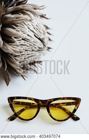 Vintage Tortoise Sunglasses With A Yellow Lenses On The White Background. Advertising Photo Of Vinta