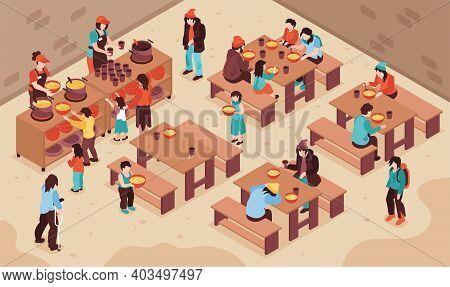 Charity Isometric Background With Volunteers Feeding Needy Poor Homeless People Vector Illustration