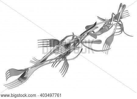 Forks Merged Metal, 3d Illustration, Horizontal, Isolated, Over White
