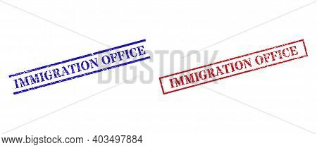 Grunge Immigration Office Rubber Stamps In Red And Blue Colors. Seals Have Distress Style. Vector Ru