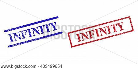 Grunge Infinity Rubber Stamps In Red And Blue Colors. Stamps Have Rubber Surface. Vector Rubber Imit