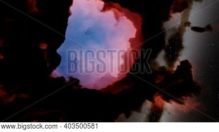 Nebula Gas Cloud In Deep Outer Space, Science Fiction Illustrarion, Colorful Space Background With S