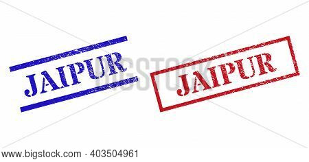 Grunge Jaipur Rubber Stamps In Red And Blue Colors. Stamps Have Distress Style. Vector Rubber Imitat